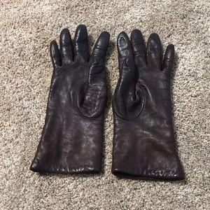 Dark Brown Faux Leather Gloves